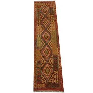 Herat Oriental Afghan Hand-woven Vegetable Dye Tribal Wool Mimana Kilim Runner (2'7 x 9'9)