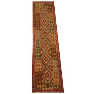 Herat Oriental Afghan Hand-woven Vegetable Dye Tribal Wool Mimana Kilim Runner (2'6 x 9'7)