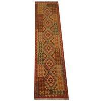 Handmade Herat Oriental Afghan Vegetable Dye Tribal Wool Mimana Kilim Runner  - 2'6 x 9'7 (Afghanistan)