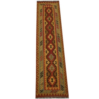 Herat Oriental Afghan Hand-woven Tribal Vegetable Dye Mimana Kilim Runner (2'7 x 9'8)