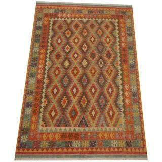 Herat Oriental Afghan Hand-woven Tribal Vegetable Dye Mimana Kilim (6'6 x 9'9)
