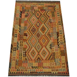 Herat Oriental Afghan Hand-woven Vegetable Dye Tribal Wool Mimana Kilim (6'5 x 10'1)