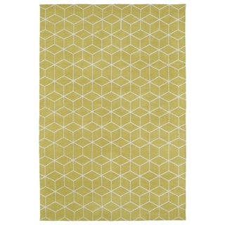 Super Soft Yellow Geo Microfiber Rug (8'0 x 10'0)