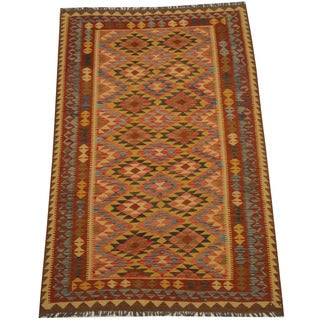 Herat Oriental Afghan Hand-woven Vegetable Dye Tribal Wool Mimana Kilim (5'6 x 8'6)