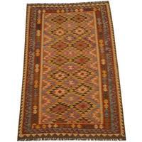 Herat Oriental Afghan Hand-woven Vegetable Dye Tribal Wool Mimana Kilim (5'6 x 8'6)