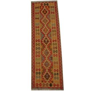 Herat Oriental Afghan Hand-woven Tribal Vegetable Dye Mimana Kilim Runner (2'7 x 7'11)