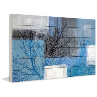 Parvez Taj - 'Blue Branches' Painting Print on White Wood