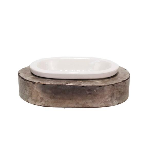 White/Grey Ceramic/Metal Soap Dish