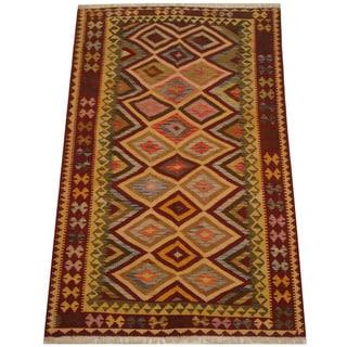 Herat Oriental Afghan Hand-woven Vegetable Dye Tribal Wool Mimana Kilim (5'3 x 8'2)