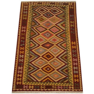 Herat Oriental Afghan Hand-woven Tribal Vegetable Dye Mimana Kilim (5'3 x 8'2)