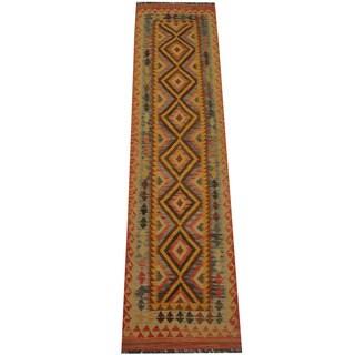 Herat Oriental Afghan Hand-woven Vegetable Dye Tribal Wool Mimana Kilim Runner (2'8 x 10'6)