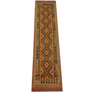 Herat Oriental Afghan Hand-woven Vegetable Dye Tribal Wool Mimana Kilim Runner (2'8 x 10'6)