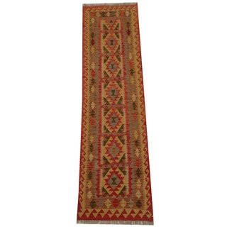 Herat Oriental Afghan Hand-woven Tribal Vegetable Dye Mimana Kilim Runner (2'4 x 8'4)