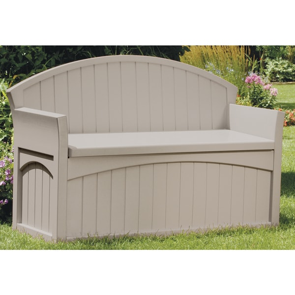 Suncast Pb6700 34 5 H X 54 75 W 21 D Light Taupe Storage Patio Bench