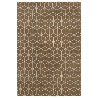 Super Soft Brown Geo Microfiber Rug (8'0 x 10'0)