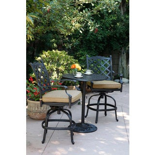 Darlee Camino Real Antique Bronze Aluminum 3-piece Bar Set with Sesame Seat Cushions and 30-inch Round Pedestal Bar Table