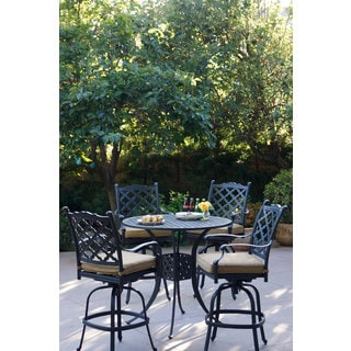 Darlee Camino Real Antique-bronze Aluminum Bar Set With Sesame Seat Cushions and 42-inch Round Bar Table (5-piece)