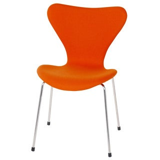 Vintage Orange Wool Side Chair Metal Legs