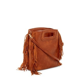 Pink Haley Honora Faux Leather Fringe Crossbody Handbag