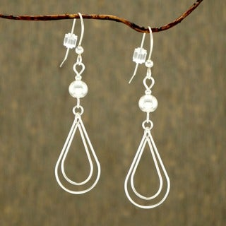 Jewelry by Dawn Silver Bead Sterling Silver Double Teardrop Earrings