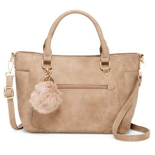 Pink Haley Rhiannon Faux Leather Pom Pom Tote Bag