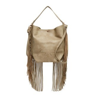 Pink Haley Tilly Faux Leather Fringe Hobo Handbag
