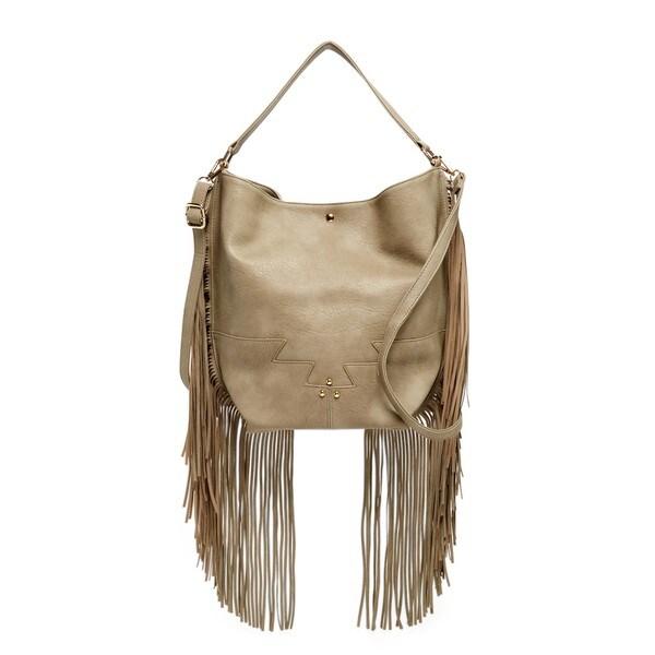 Pink Haley Tilly Faux Leather Fringe Hobo Handbag