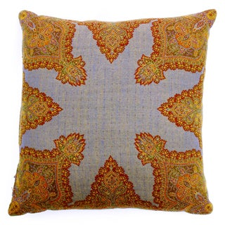 Desiree Gold and Burgundy Paisley-patterned Polyester and Boiled Wool Throw Pillow