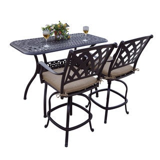 Darlee Ocean View Bronze-finished Cast Aluminum 3-Piece Bar Set with Sesame Seat Cushions