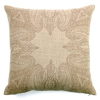 Faded Paisley Ivory Boiled Wool 20-inch Square Throw Pillow