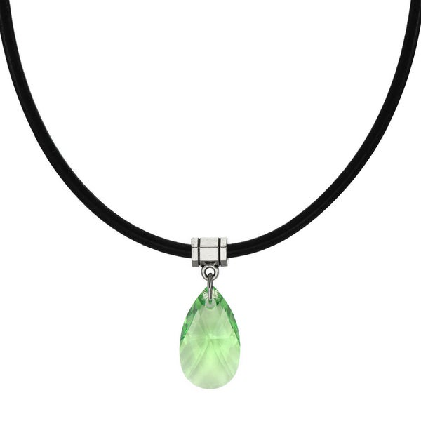 Handmade Jewelry by Dawn Peridot Green Crystal Pear Greek Leather Cord Necklace