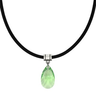 Handmade Jewelry by Dawn Peridot Green Crystal Pear Leather Cord Necklace (USA)