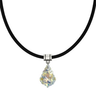 Jewelry by Dawn Aurora Borealis Crystal Baroque Greek Leather Cord Necklace - Multi