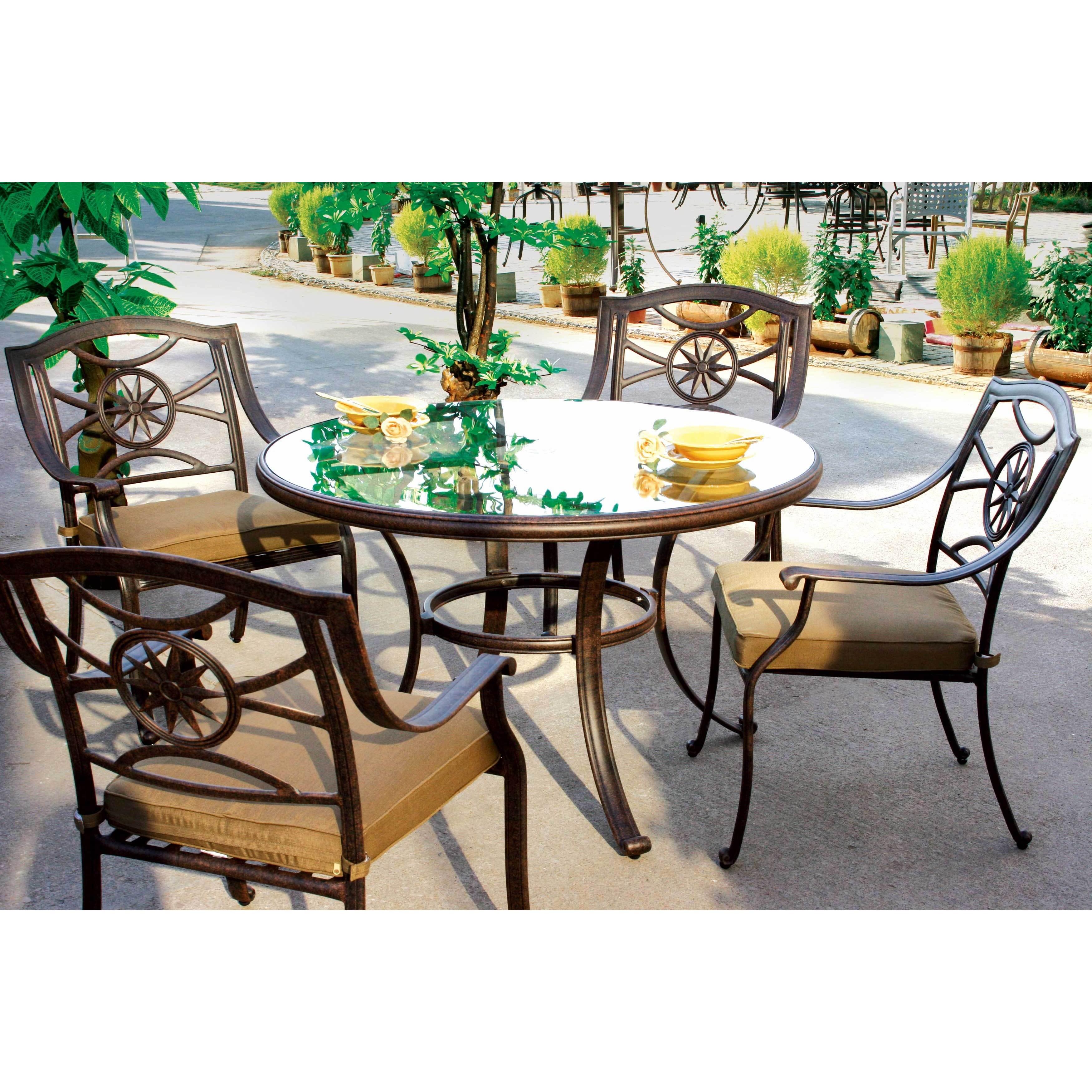 Darlee Ten Star Antique-bronze Cast-aluminum Dinng Set Wi...