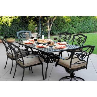 Darlee Ten Star Antique Bronze Cast Aluminum 42-inch x 72-inch Rectangular Outdoor Dining Table With 6 Sesame Cushioned Chairs