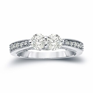 Auriya 14k Gold 1ct TDW 2-Stone Round Cut Diamond Engagement Ring (J-K, I1-I2)