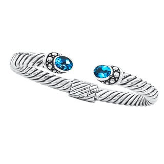 Handcrafted Antiqued Sterling Silver Hinged Blue Topaz Tips Bali Cuff Bracelet (Indonesia)