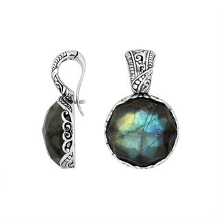 Handcrafted Artisan-made Sterling Silver Labradorite Clip-on Enhancer Pendant (Indonesia)