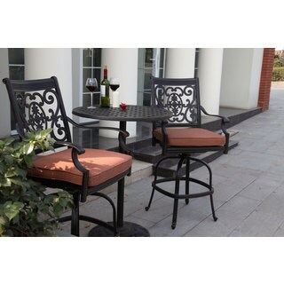 Darlee St.Cruz 3-piece Pedestal Bar Set with Seat Cushions