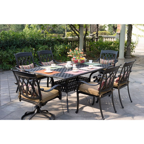 Darlee San Marcos Cast Aluminum Dinng Set With Sesame Seat