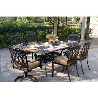 Darlee San Marcos Cast-aluminum Dinng Set With Sesame Seat Cushions and 42-inch x 72-inch' Rectangular Dining Table (7-piece)
