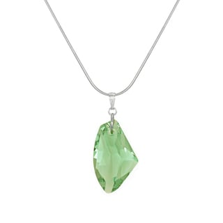 Jewelry by Dawn Large Peridot Green Crystal Galactic Sterling Silver Snake Chain Necklace