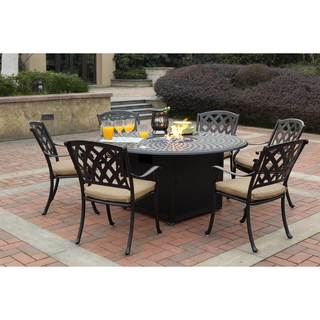 Darlee Ocean View Black Cast Aluminum 7-piece Dinng Set with Sesame Seat Cushions