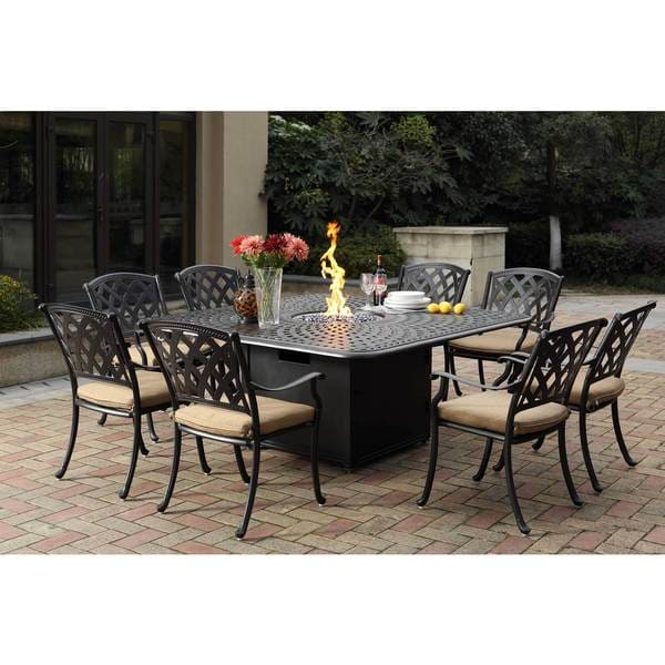 Darlee Ocean View Cast Aluminum Dining Set With Sesame