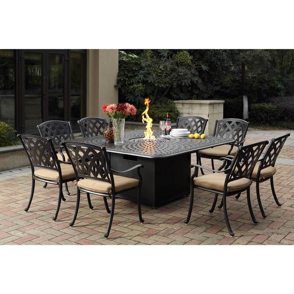 Darlee Ocean View Cast Aluminum Dining Set With Sesame Seat Cushions And 64 Inch