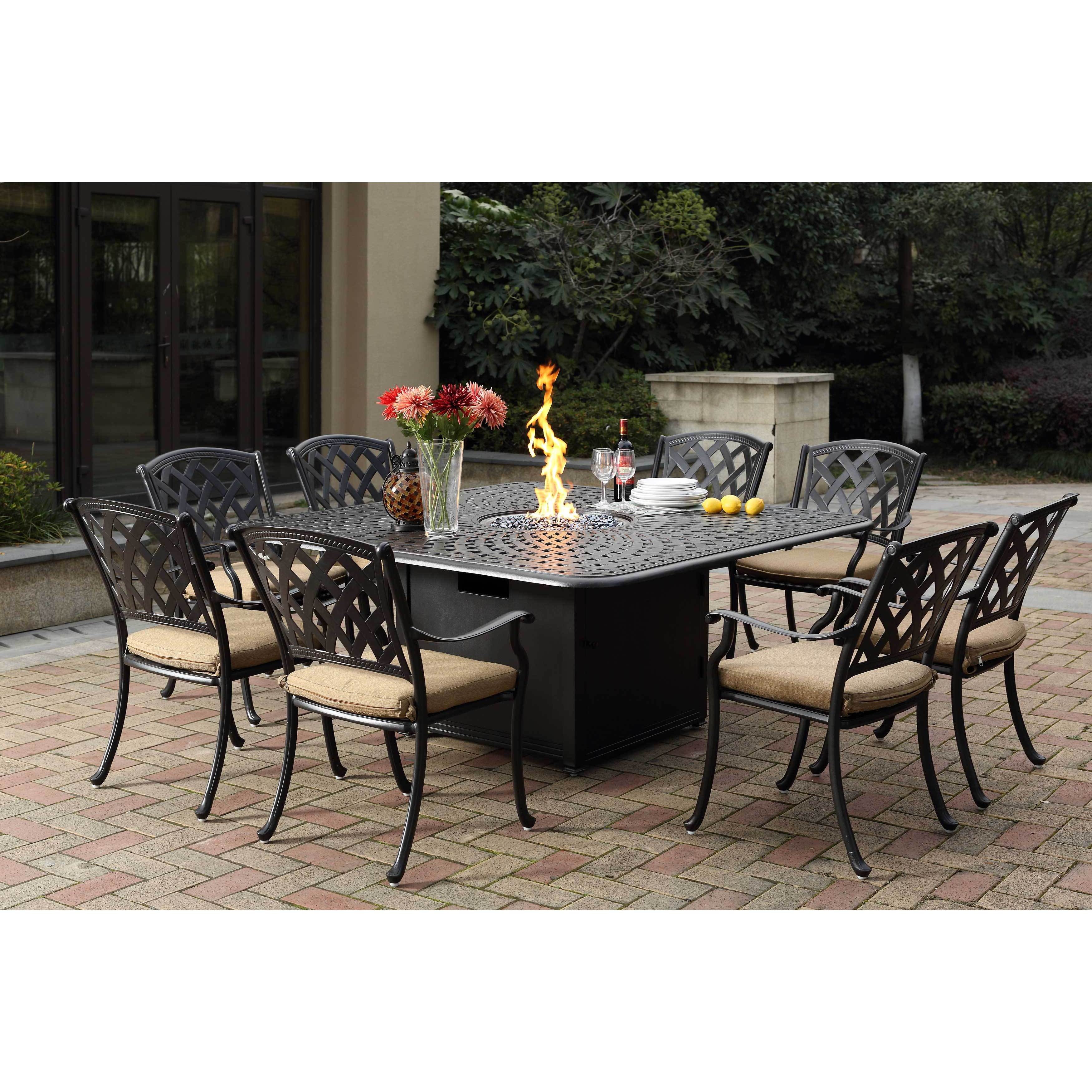Darlee Ocean View Cast-aluminum Dining Set With Sesame Se...