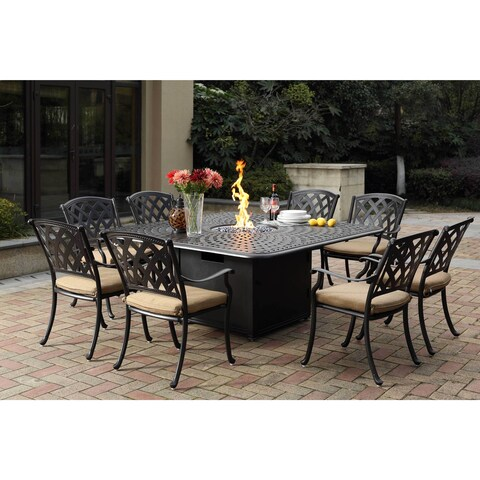 Darlee Ocean View Cast-aluminum Dining Set With Sesame Seat Cushions and 64-inch Square Propane Fire Pit Dining Table (9-piece)