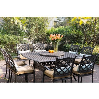 Camino 10-piece Cast-aluminum Dining Set with Sesame Seat Cushions and 30-inch Lazy Susan