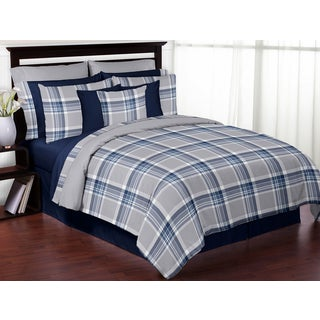 Sweet Jojo Designs Navy Blue and Grey Plaid 3-piece Full/ Queen-size Comforter Set