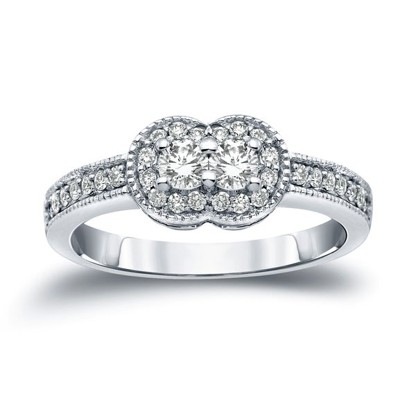 Auriya 14k Gold Vintage 1/2ct TDW 2-Stone Diamond Halo Engagement Ring